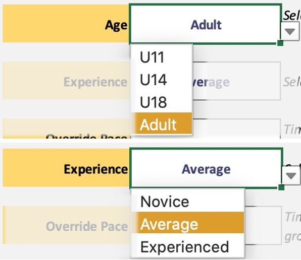 Route plan select age and experience