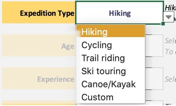 Route plan select expedition type